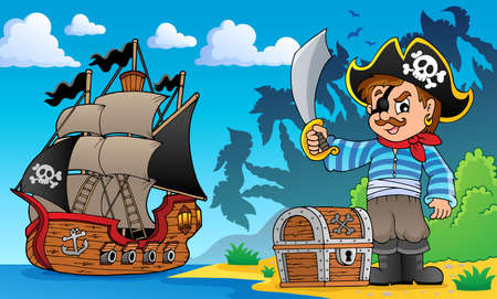 scarf beach: Pirate on coast theme 1 - eps10 vector illustration