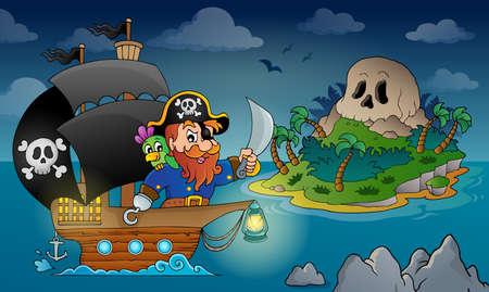 calavera pirata: Imagen del tema Barco pirata 4 - ilustración vectorial eps10