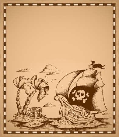 Pirate dessin thématique sur parchemin 2 - eps10 illustration vectorielle Banque d'images - 27507658