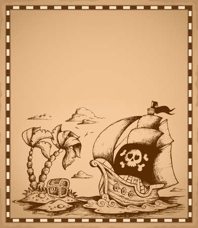 Pirate theme drawing on parchment 2 - eps10 vector illustration