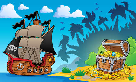 gold coast: Pirate theme with treasure chest 1 - eps10 vector illustration  Illustration