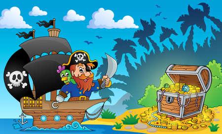 cofre del tesoro: Tema de pirata con cofre del tesoro 2 - ilustración vectorial eps10 Vectores