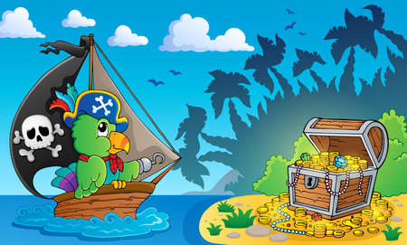 Pirate theme with treasure chest 4 - eps10 vector illustration