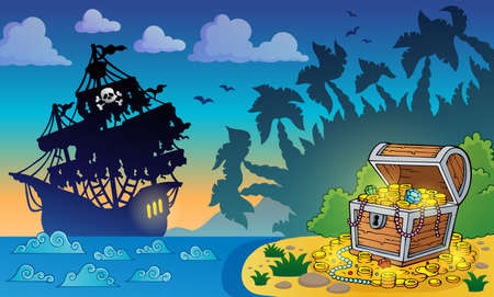 Pirate theme with treasure chest 5 - eps10 vector illustration  Illustration