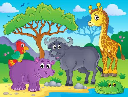 African fauna theme image Vector
