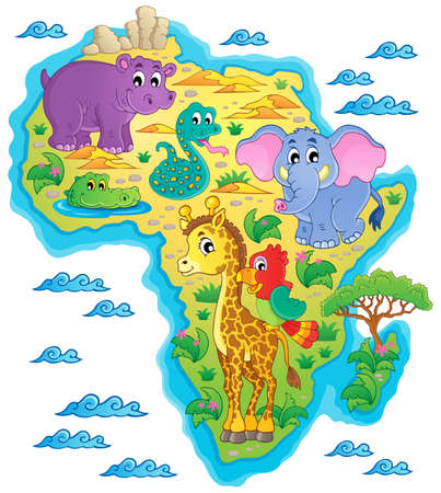 camelopard: Africa map  Illustration