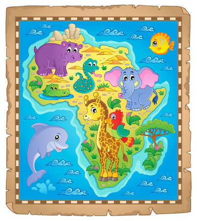 camelopard: Africa map theme image Illustration