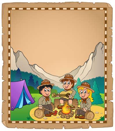 Children scouts theme parchment Vector