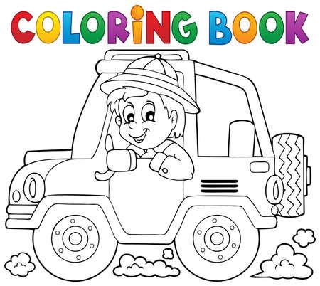 Coloring book car traveller