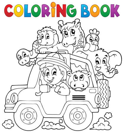 Coloring book car traveller theme  矢量图像