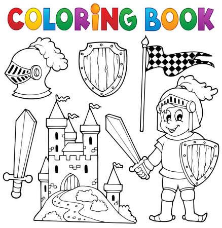 castillo medieval: Libro para colorear Caballero tema Vectores