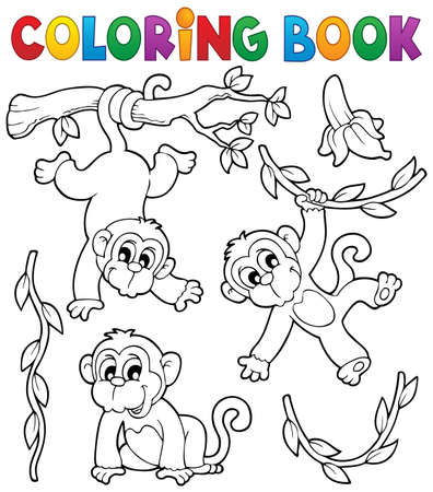 Coloring book monkey  矢量图像