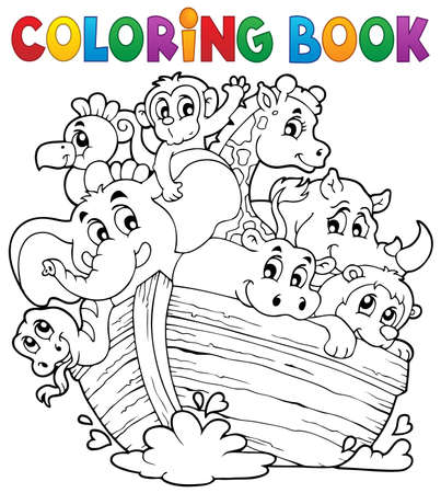 Coloring book Noahs ark  Vector