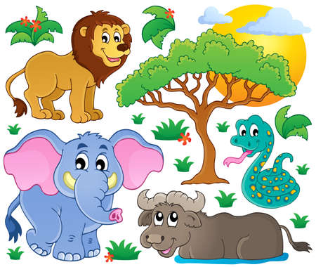 Cute African animals collection Vector