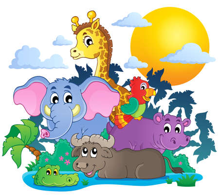 Cute African animals theme image 7 - eps10 vector illustration. Vector