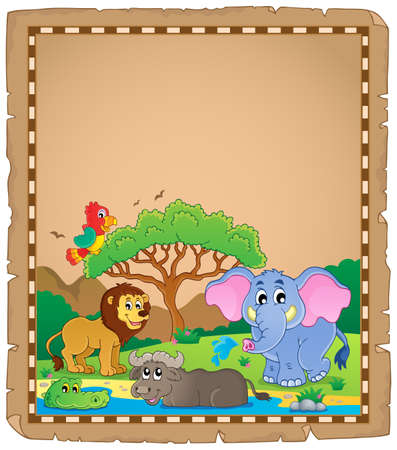 Parchment with African animals  Vector