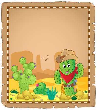 neckscarf: Parchment with cactus theme