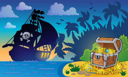 Pirate theme with treasure chest  Illustration