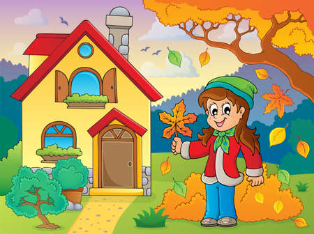 rural house: Autumn theme with girl and house illustration