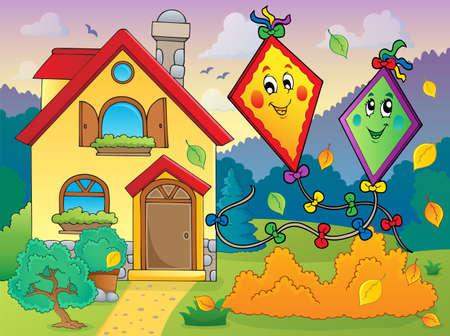 paper kite: Autumn theme with kites and house illustration