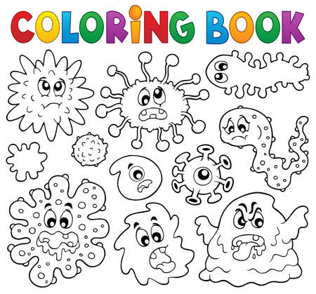 monster face: Coloring book germs theme illustration