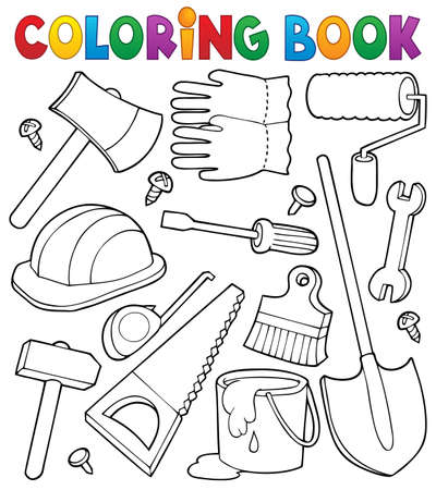 Coloring book tools theme illustration