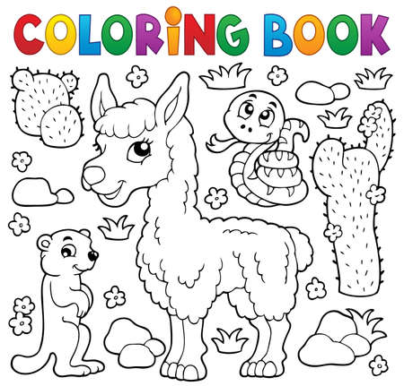 alpaca: Coloring book with cute animals illustration