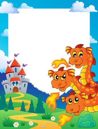 wyvern: Dragon theme frame illustration  Illustration