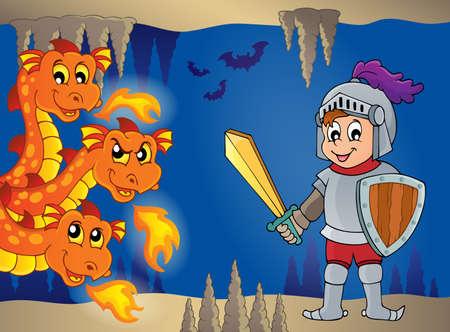 wyvern: Dragons and knight illustration
