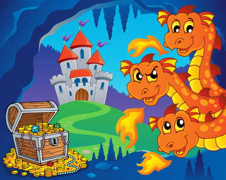 wyvern: Dragons, treasure and castle illustration