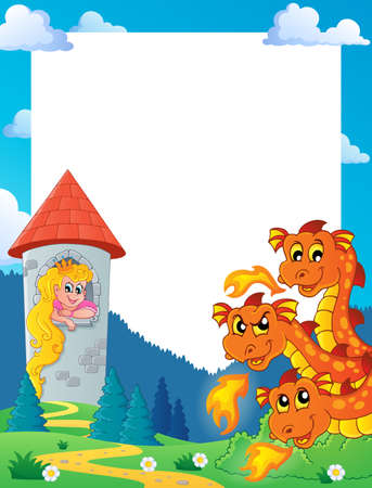 Dragons and princess in tower illustration
