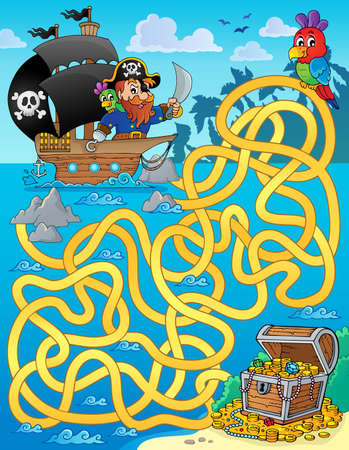 Maze with pirate and treasure illustration