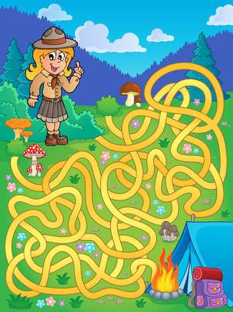 girl illustration: Laberinto con la ilustraci�n de ni�a exploradora