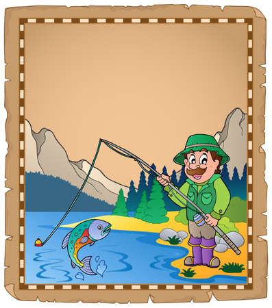 angling rod: Parchment with fisherman illustration