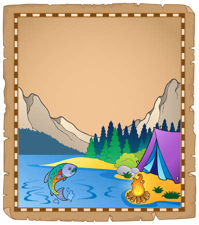 campground: Parchment with lake illustration  Illustration