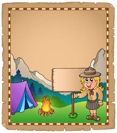 girl scout: Parchment with scout girl and board illustration