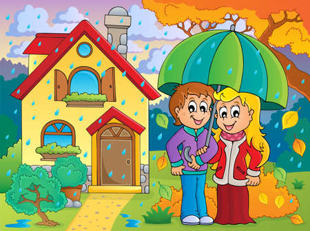rainy season: Cartoon Couple in Rainy weather theme image