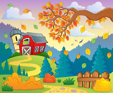 grainery: Autumn farm landscape  Illustration