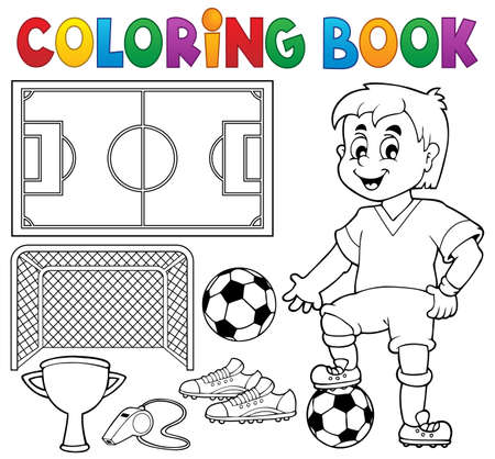 Coloring book soccer theme  Vector
