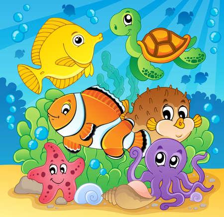 puffer fish: Coral fish theme image