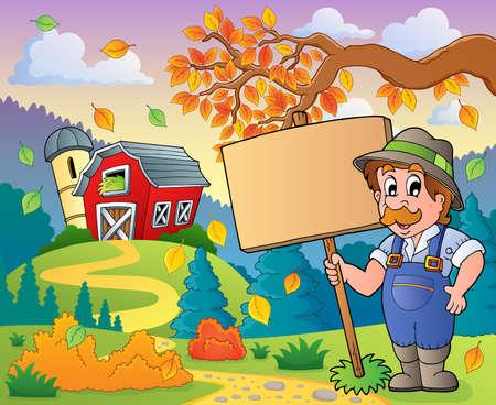 farmstead: Farmer theme image  Illustration