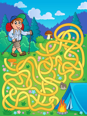 Maze 1 with hiker outdoor Illustration