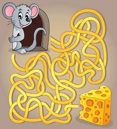 Maze 1 with mouse and cheese Stock Vector - 29425872