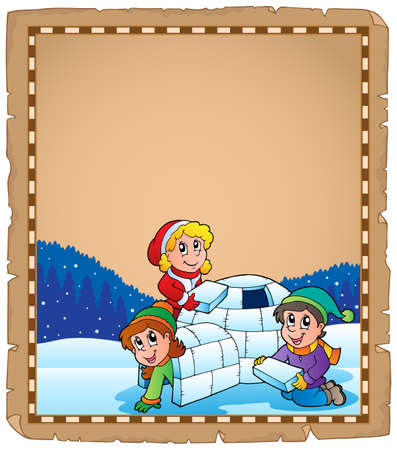 igloo: Parchment with children and igloo - eps10 vector illustration  Illustration