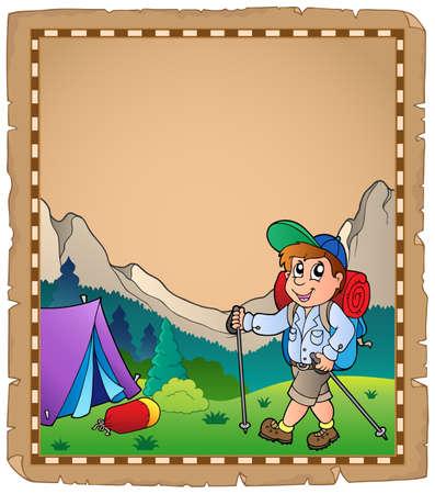 campsite: Parchment with travel theme  Illustration
