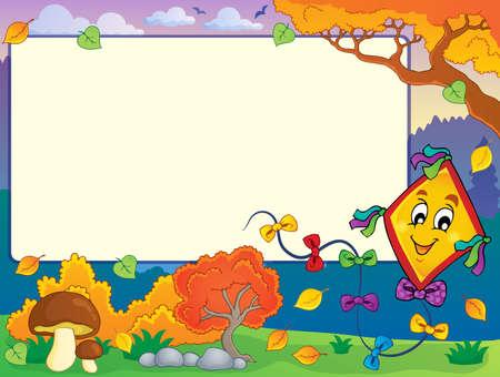 paper kite: Autumn frame with kite 1