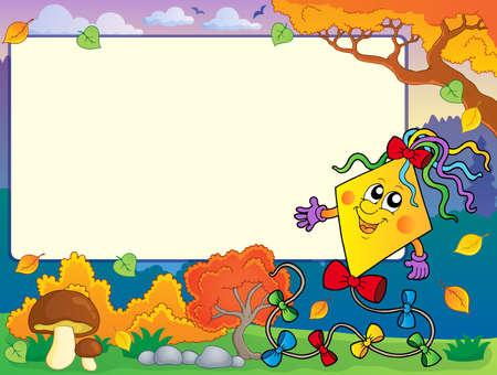 paper kite: Autumn frame with kite 2 - eps10 vector illustration