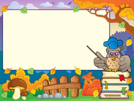 glass fence: Autumn frame with owl teacher 1 - eps10 vector illustration  Illustration
