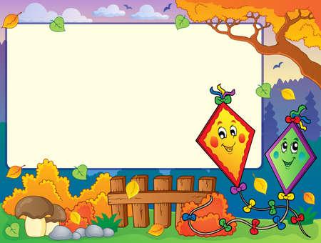 paper kite: Autumn frame with two kites  Illustration
