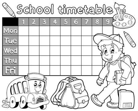 cronograma: Horario escolar Libro para colorear 1 - ilustración vectorial eps10